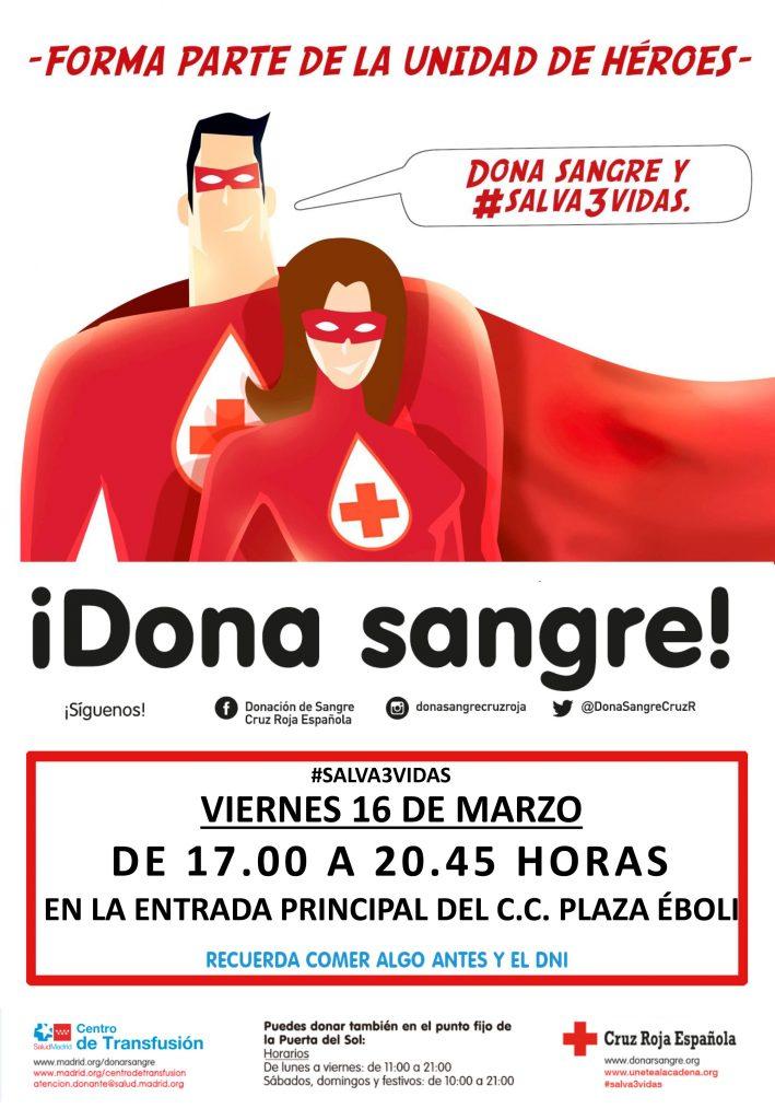 Nueva campaña junto Cruz Roja ¡Dona sangre en Plaza Éboli!
